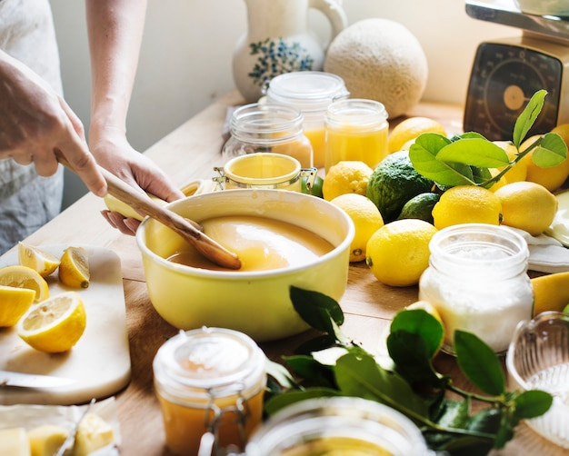 Lemon curd food photography recipe idea Free Photo