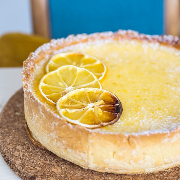 Lemon Tart With Dried Lemons As A Decoration On Top Home Baking