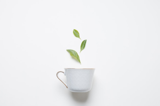 Lemon tea leaves over the porcelain cup against white backdrop Free Photo
