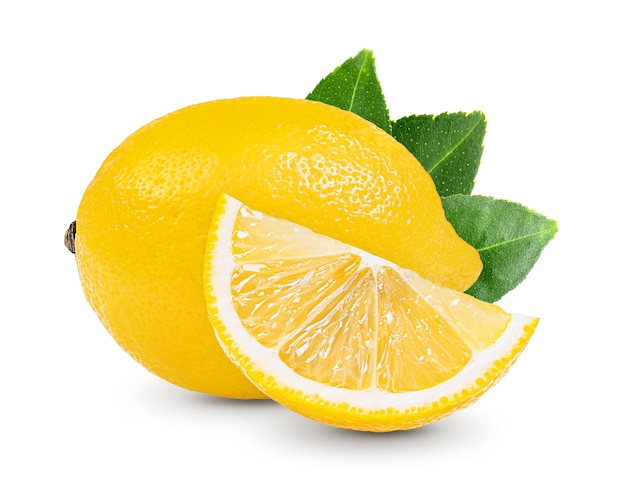 Lemon with leaf isolated on white background Premium Photo