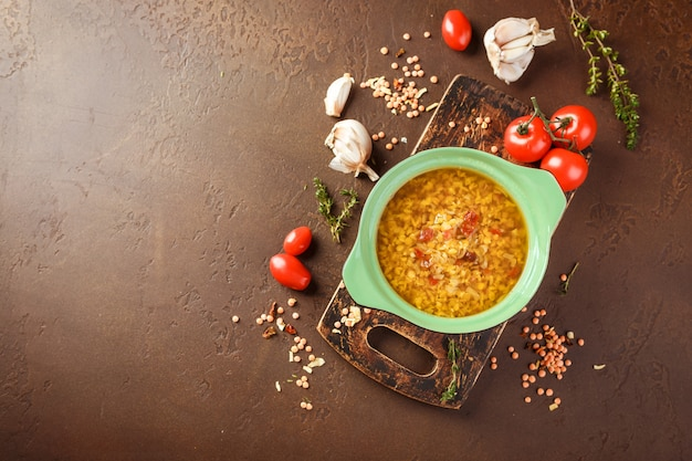 Lentil soup - masoor dal or dal tadka curry Photo   Premium