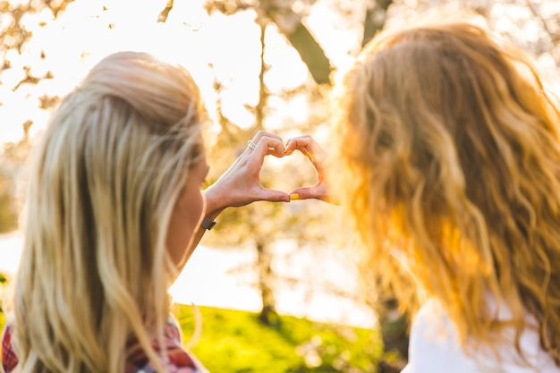 Lesbian couple, heart shaped hands at park Premium Photo
