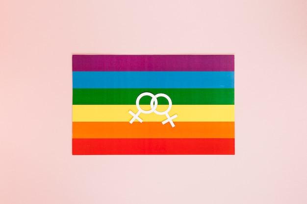 Lesbian couple icon on rainbow flag Free Photo
