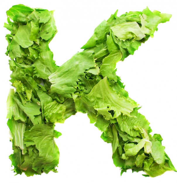 Letter k with fresh and tasty lettuce Free Photo