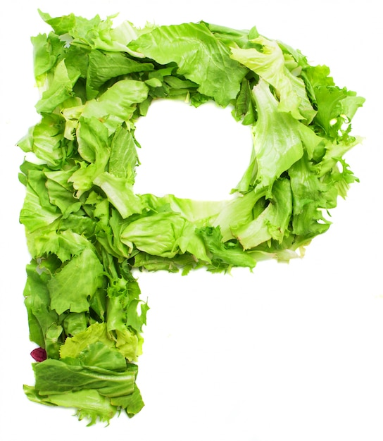 Letter P With Crunchy Lettuce Free Photo  P&l Forms