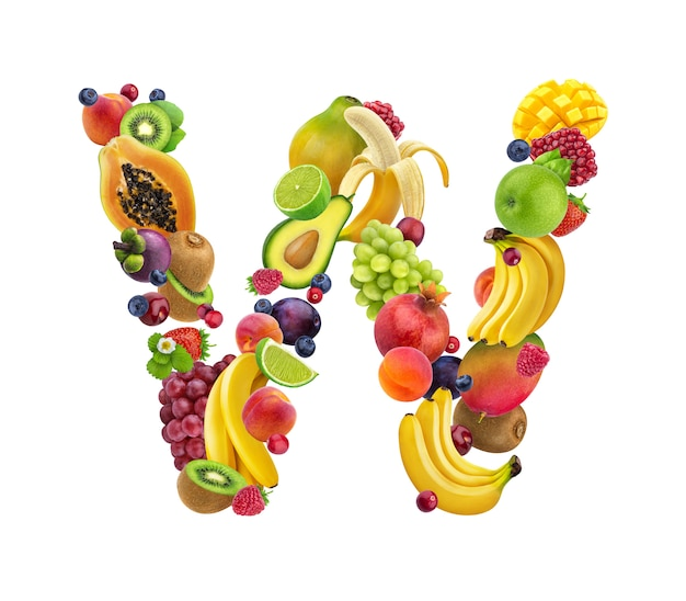 Letter w made of different fruits and berries Premium Photo