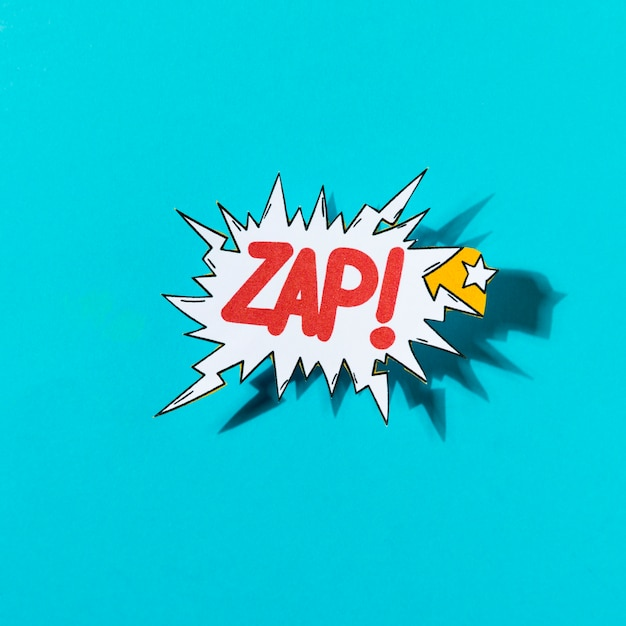 Lettering zap comic text sound bubble speech word on blue background Free Photo