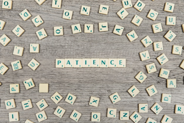 Letters forming the word patience Free Photo