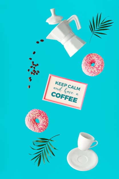 Левитация сюрреалистический образ, кофе и два розовых пончика в руках. летающие кофейные зерна. керамическая кофеварка и чашка эспрессо. яркий, модный, смелый зеленый цвет мяты с пальмовых листьев. Premium Фотографии