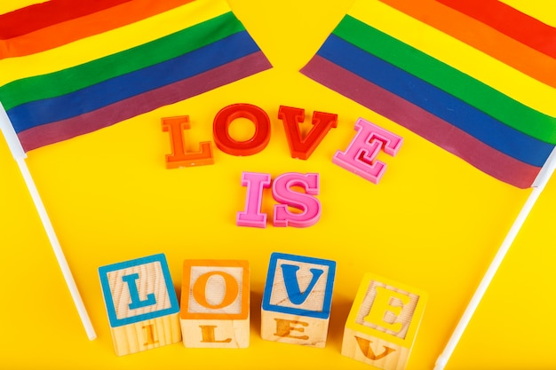 Lgbt concept, text love, lgbt flag Premium Photo