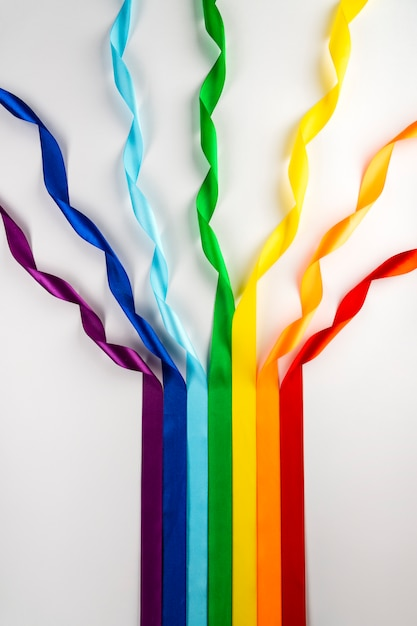 Lgbt flag, rainbow symbol of sexual minorities in the form of satin ribbons. Premium Photo
