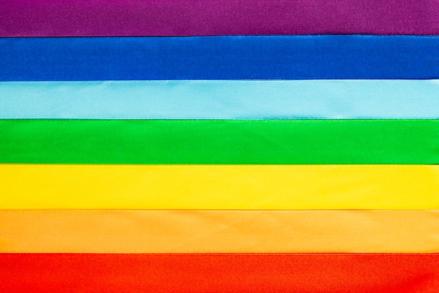 Lgbt flag symbol made of satin ribbons Premium Photo