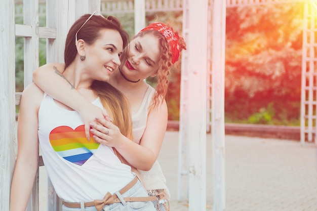 Lgbt lesbian couple moments happiness concept Premium Photo
