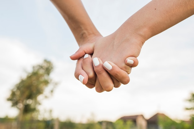 Lgbt lesbian couple moments happiness. lesbian couple holding hands Premium Photo