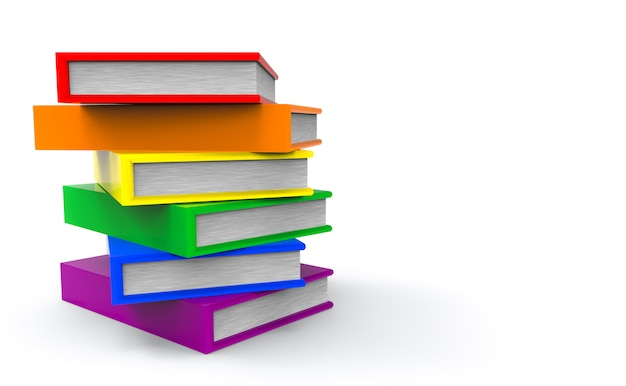 Lgbt rainbow color style books on gray copy space background. Premium Photo