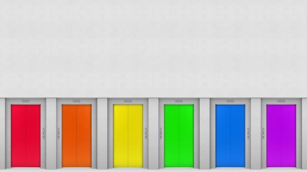 Lgbt rainbow colorful elevator door style on cement wall backgorund. Premium Photo