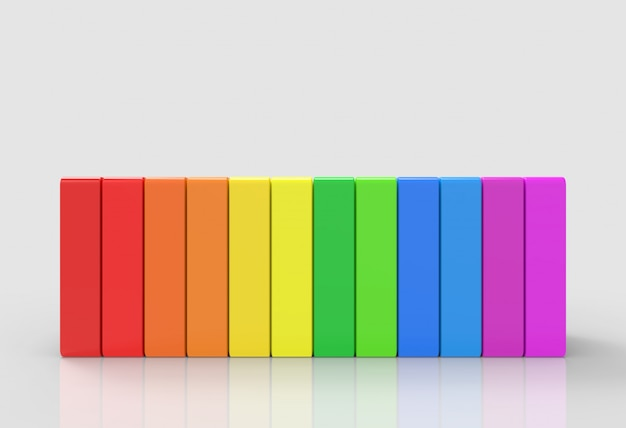 灰色の背景に虹のカラフルなlgbt垂直バー Premium写真