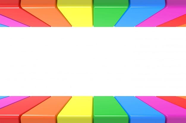 灰色の壁の背景に上下にlgbt虹カラフルなプレートパターン Premium写真