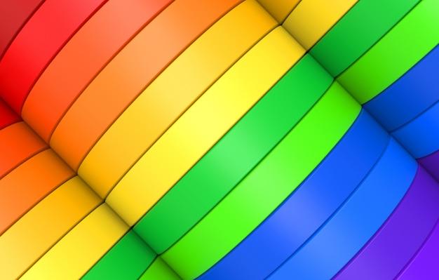 虹色のカラフルなlgbt斜め曲線パネルデザインバナー壁背景 Premium写真