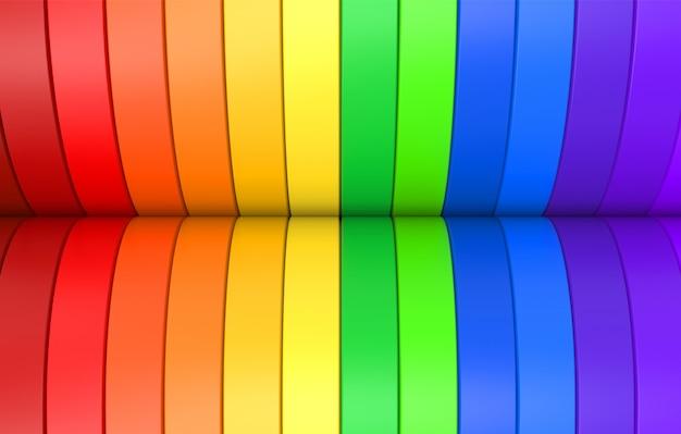 虹色のカラフルなlgbt曲線パネルの背景 Premium写真