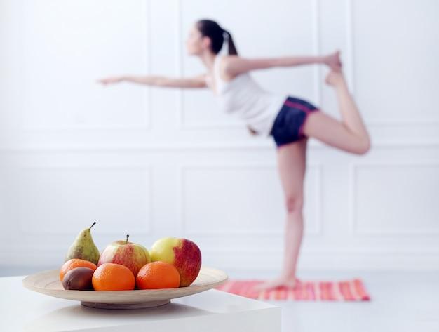 Lifestyle. beautiful girl during yoga exercise Free Photo