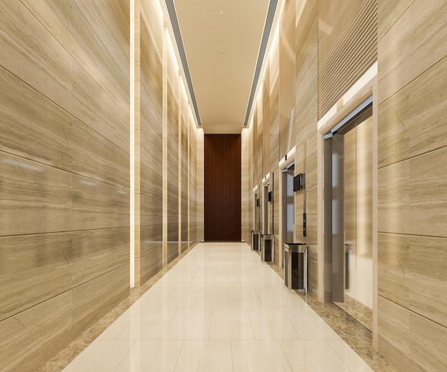 복도 근처에 고급스러운 디자인의 호텔 로비 프리미엄 사진