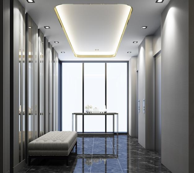대리석 바닥과 의자 좌석 3d 렌더링으로 로비 현대적인 디자인을 리프트 프리미엄 사진