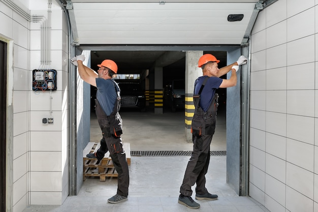 Lifting gates of the garage. Premium Photo
