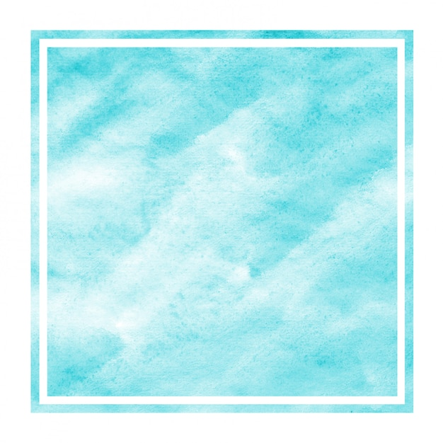 Light blue hand drawn watercolor rectangular frame background texture with stains Premium Photo