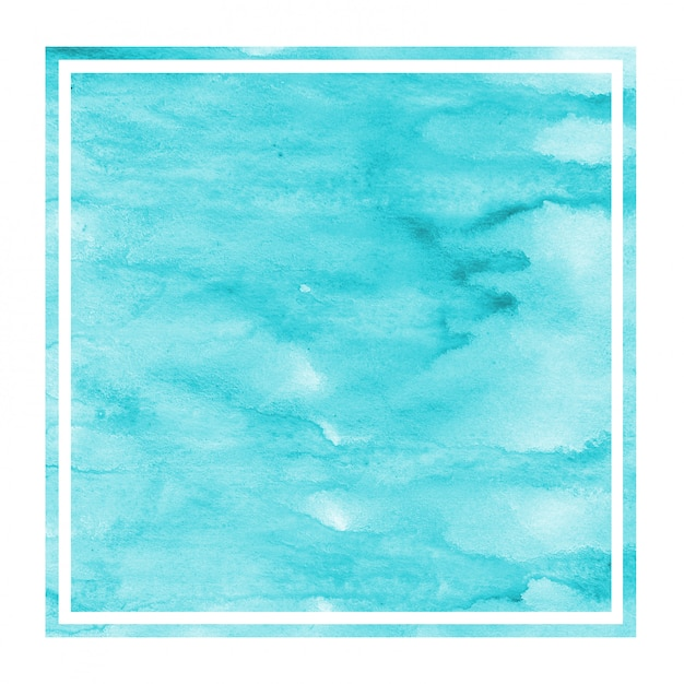 Light blue hand drawn watercolor rectangular frame Premium Photo