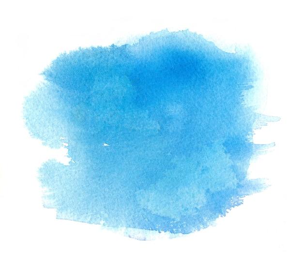 水彩ペイントストローク、しみと水色の水彩汚れ Premium写真