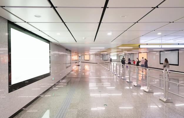 Light box advertising at subway station passageway Premium Photo