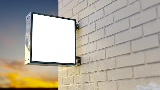 Premium Photo Light Box Signboard Light Box Mockup Made Of Metal Were Installed Next To The Brick Wall For Logo