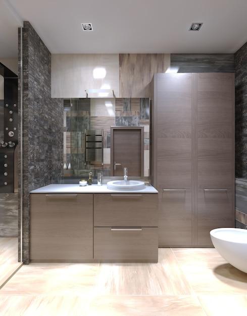 벽에 할로겐 램프와 혼합 타일이 있고 유리문이있는 분리 된 샤워 시설이있는 높은 천장이있는 이상한 욕실의 밝은 갈색 가구. 프리미엄 사진