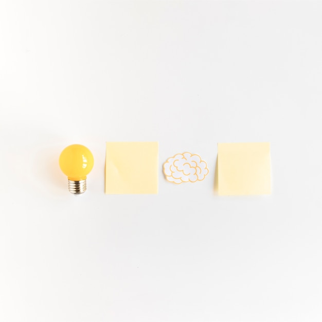 Light bulb and brain with two adhesive notes on white background Free Photo