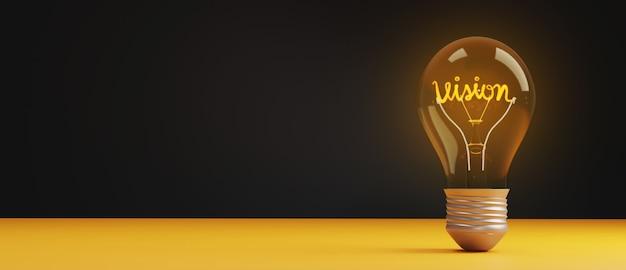 Light bulb vision concept with copy space. Premium Photo