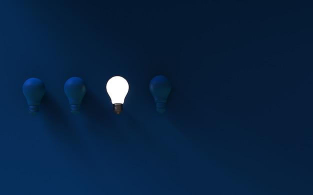 Light bulbs on dark blue background Premium Photo