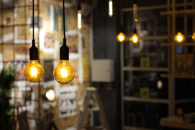 Light bulbs hanging from ceiling Premium Photo