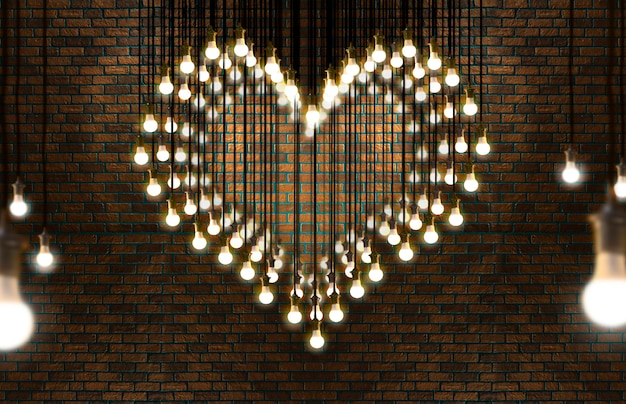 Light bulbs heart, loft style, valentine and love concept. Premium Photo