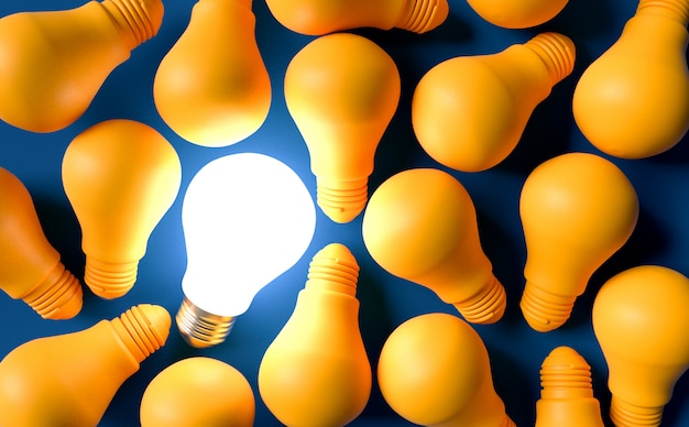 Light bulbs idea concept. 3d render illustration Premium Photo