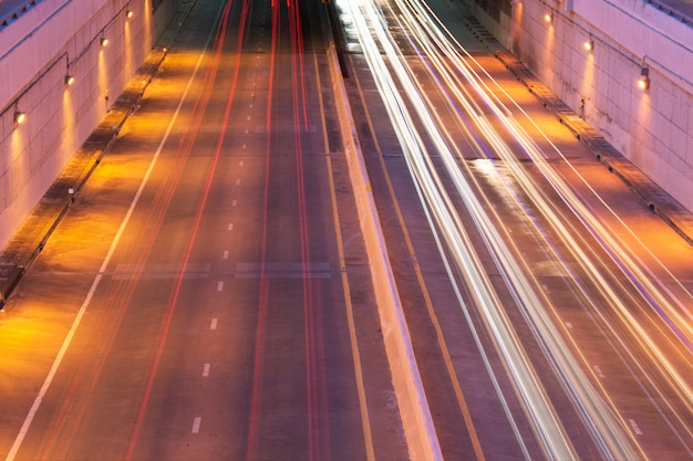 Light form a car and tunnel Premium Photo