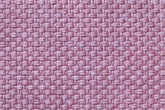 Light purple textile background with checkered pattern, closeup. structure of the fabric macro. Premium Photo