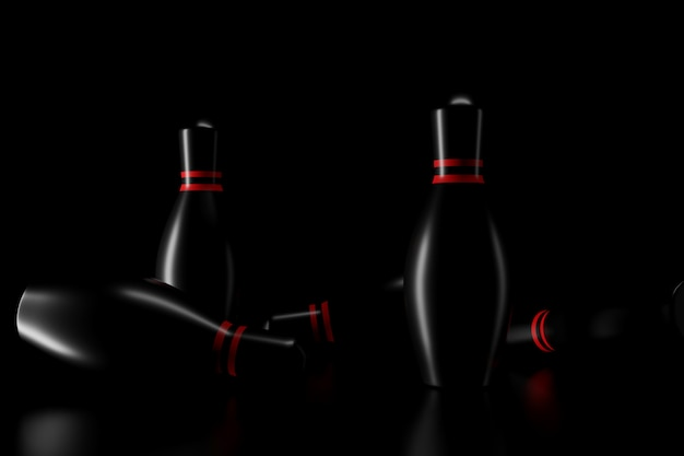 Light and shadow of bowling pins in the darkness. 3d rendering. Premium Photo