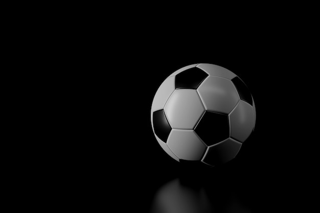 Light and shadow of football in the darkness Premium Photo