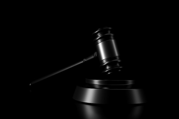 Light and shadow of gavel in the darkness Premium Photo