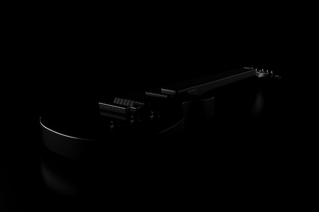 Light and shadow of guitar in the darkness. 3d rendering. Premium Photo