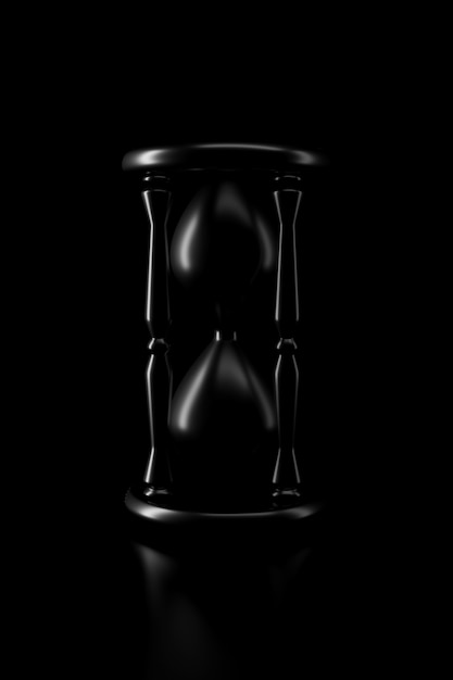 Light and shadow of hourglass in the darkness Premium Photo