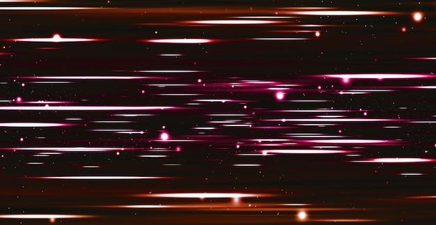 輝きと動きの速い光の軌跡現代の抽象的な背景明るい線と点 Premium写真
