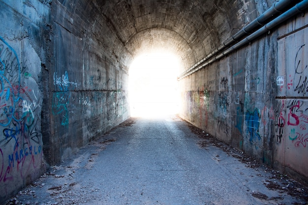 Light in the tunnel. Premium Photo