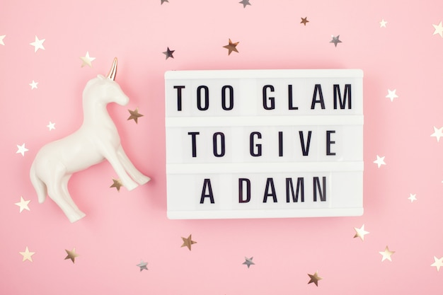 Lightbox with phrase too glam to give a damn Premium Photo